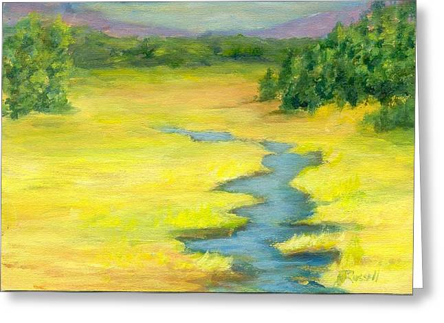 K Joann Russell Greeting Cards - Colorful Original Landscape Painting Mountain Meadow Greeting Card by K Joann Russell