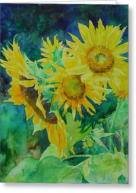 K Joann Russell Greeting Cards - Colorful Original Sunflowers Flower Garden Art Artist K. Joann Russell Greeting Card by K Joann Russell