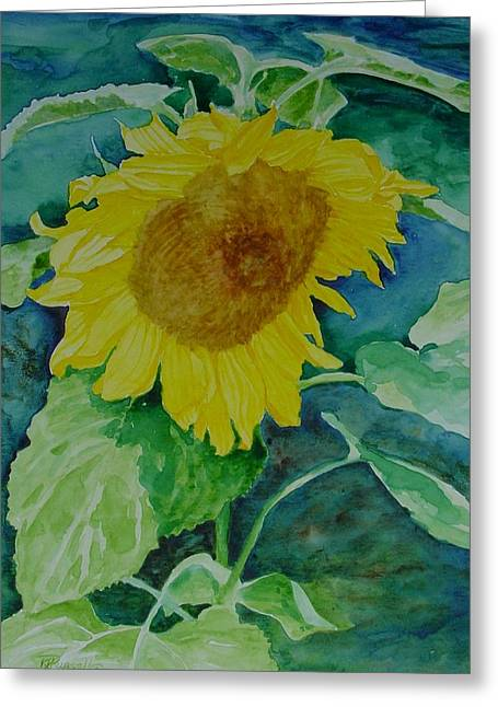 K Joann Russell Greeting Cards - Colorful Original Watercolor Sunflower Greeting Card by K Joann Russell