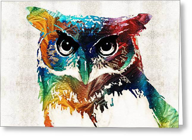 Wild Life Greeting Cards - Colorful Owl Art - Wise Guy - By Sharon Cummings Greeting Card by Sharon Cummings