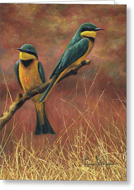 Little Birds Greeting Cards - Colorful Pair Greeting Card by Lucie Bilodeau