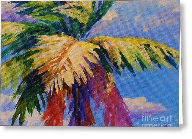 Coconut Palm Tree Greeting Cards - Colorful Palm Greeting Card by John Clark