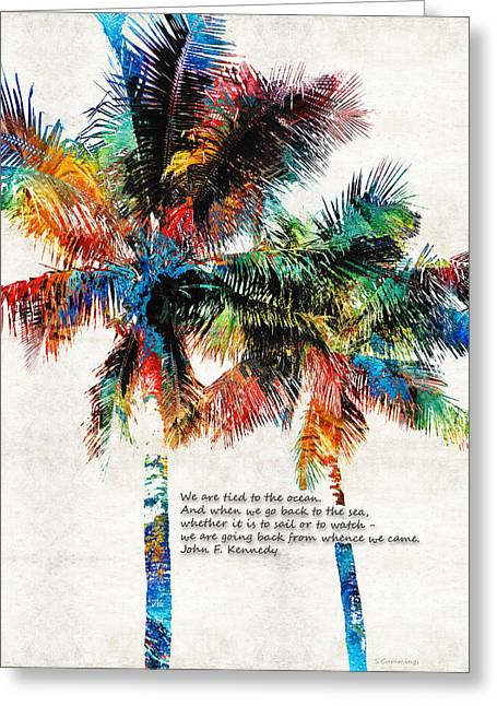 Beach House Paintings Greeting Cards - Colorful Palm Trees - Returning Home - By Sharon Cummings Greeting Card by Sharon Cummings