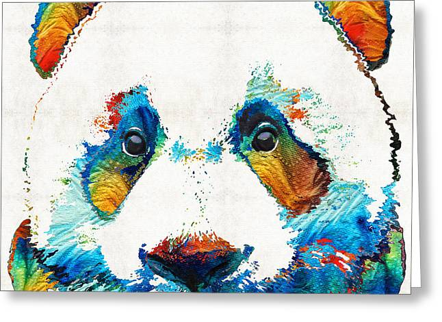 Nursery Decor Greeting Cards - Colorful Panda Bear Art By Sharon Cummings Greeting Card by Sharon Cummings