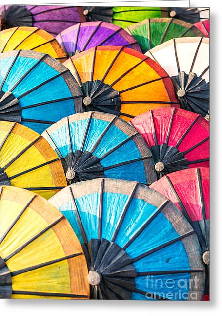 Ethnic Print Greeting Cards - Colorful paper umbrellas - Laos Greeting Card by Matteo Colombo