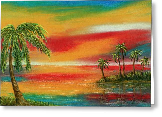 Surreal Landscape Pastels Greeting Cards - Colorful Paradise Greeting Card by Anastasiya Malakhova