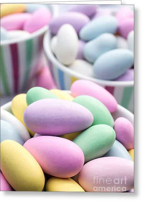 Gathering Photographs Greeting Cards - Colorful pastel jordan almond candy Greeting Card by Edward Fielding