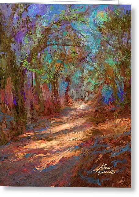 Dappled Light Digital Art Greeting Cards - Colorful path Greeting Card by Aviral Jha