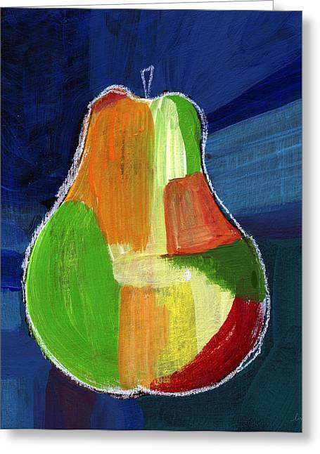 Pears Greeting Cards - Colorful Pear- Abstract Painting Greeting Card by Linda Woods