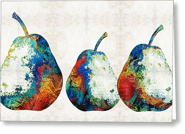 Pear Prints Greeting Cards - Colorful Pear Art - Three Pears - By Sharon Cummings Greeting Card by Sharon Cummings