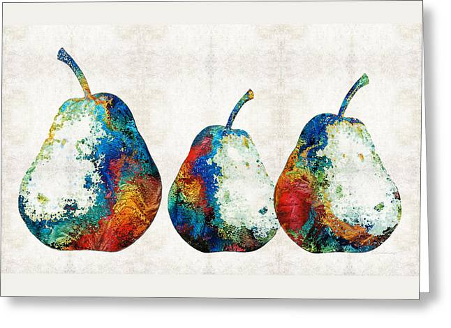 Paintng Greeting Cards - Colorful Pear Art - Three Pears - By Sharon Cummings Greeting Card by Sharon Cummings