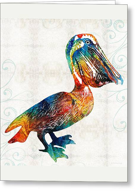 Colorful Pelican Art 2 By Sharon Cummings Greeting Card by Sharon Cummings