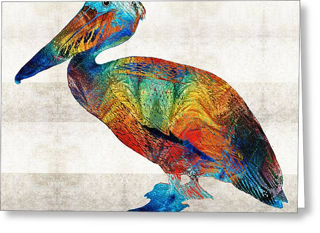 Pelican Greeting Cards - Colorful Pelican Art By Sharon Cummings Greeting Card by Sharon Cummings