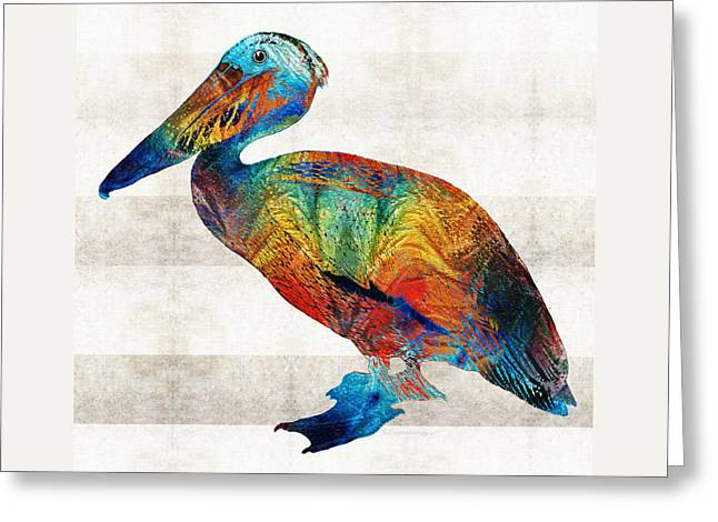 Colorful Pelican Art By Sharon Cummings Greeting Card by Sharon Cummings