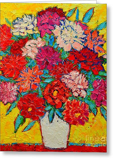Abstract Expressionist Greeting Cards - Colorful Peonies Greeting Card by Ana Maria Edulescu