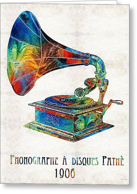Old Times Greeting Cards - Colorful Phonograph Art by Sharon Cummings Greeting Card by Sharon Cummings