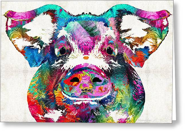 White Farm Greeting Cards - Colorful Pig Art - Squeal Appeal - By Sharon Cummings Greeting Card by Sharon Cummings