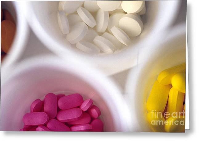Pill Greeting Cards - Colorful Pills In White Plastic Cups Greeting Card by Jim Corwin