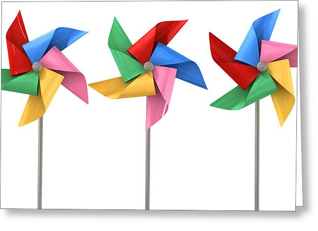 Wind Vane Greeting Cards - Colorful Pinwheels Isolated Greeting Card by Allan Swart