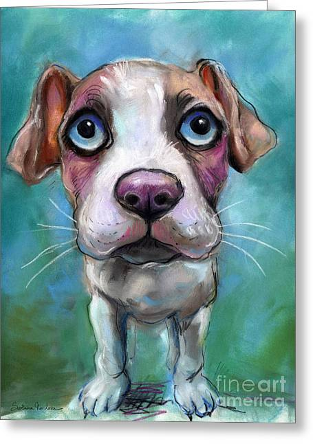 Sad Eyes Greeting Cards - Colorful pit bull puppy with blue eyes painting  Greeting Card by Svetlana Novikova