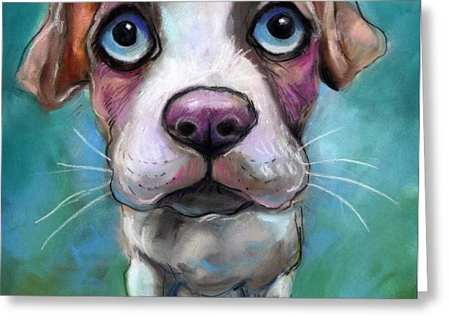 Colorful pit bull puppy with blue eyes painting  Greeting Card by Svetlana Novikova