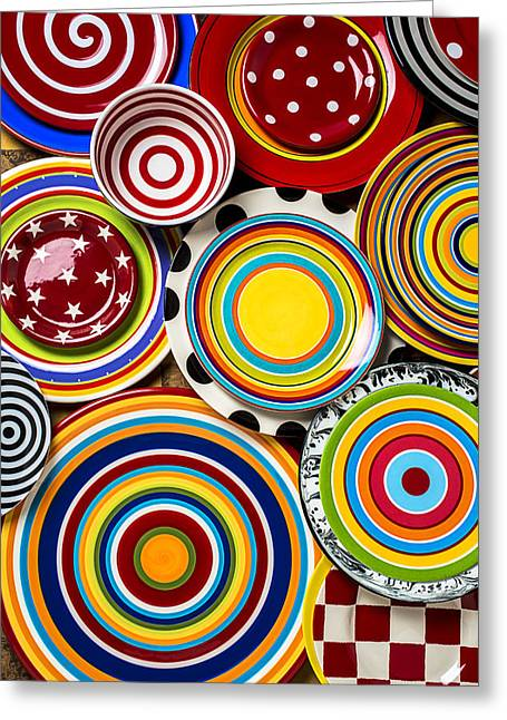 Circular Circle Circles Greeting Cards - Colorful Plates Greeting Card by Garry Gay