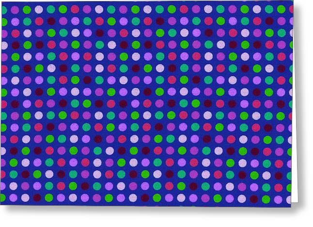 Dot Greeting Cards - Colorful Polka Dots On Blue Fabric Background Greeting Card by Keith Webber Jr