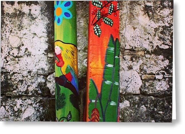 El Salvador Greeting Cards - Colorful Posts El Salvador Greeting Card by Denise Shea