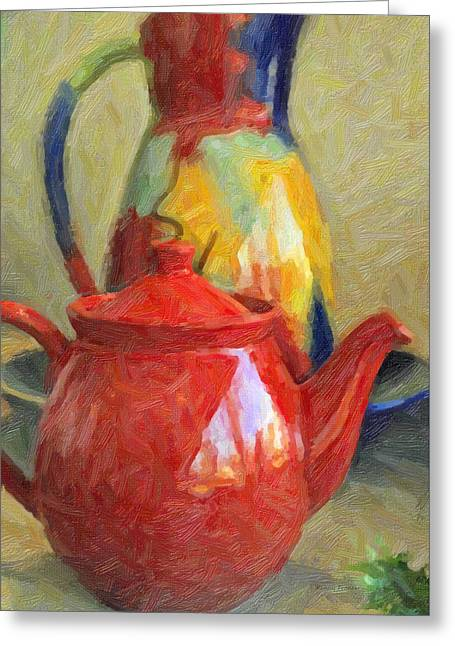 Tabletop Greeting Cards - Colorful Pottery Greeting Card by Kenny Francis