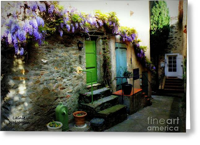 Provence Village Greeting Cards - Colorful Provence Street Greeting Card by Lainie Wrightson