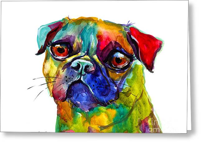 Breeds Greeting Cards - Colorful Pug dog painting  Greeting Card by Svetlana Novikova