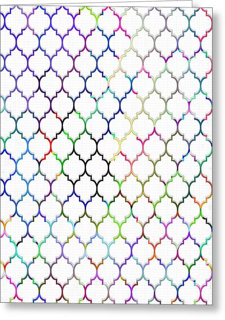 Quatrefoil Greeting Cards - Colorful Quatrefoil Greeting Card by Cassie Peters