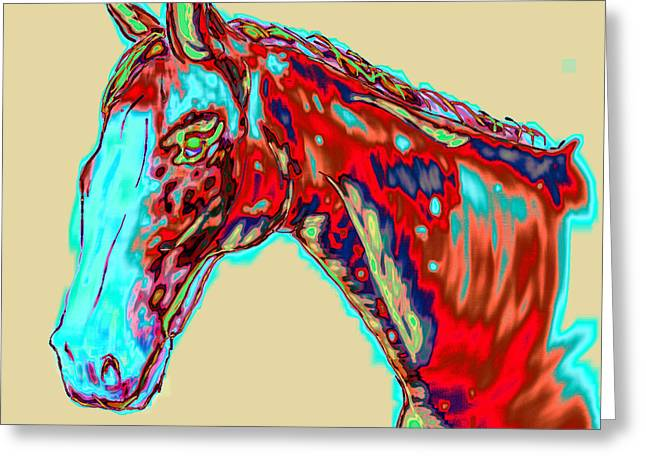 Tennessee Barn Greeting Cards - Colorful Race Horse Greeting Card by Mark Moore