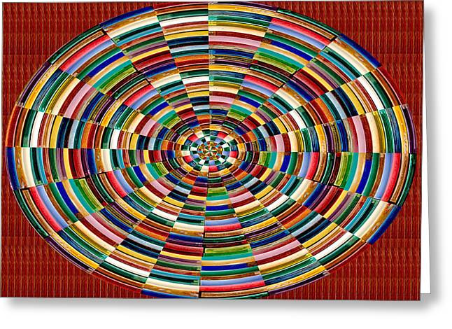 Chakra Rainbow Greeting Cards - Colorful Rainbow Embossed Plasticised Strips made of Gas Lighter cases Chakra Energy Healing Reiki M Greeting Card by Navin Joshi
