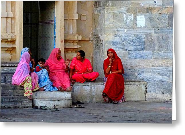 Gathering Greeting Cards - Colorful Rajasthani Women in Udaipur Temple India Greeting Card by Sue Jacobi Photography