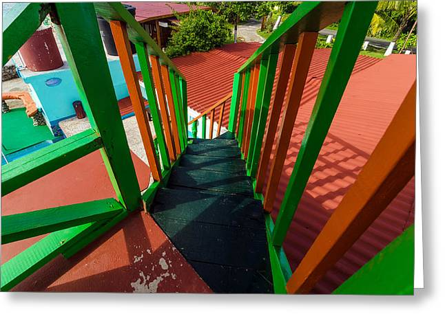 Wooden Stairs Greeting Cards - Colorful Red and Green Staircase Greeting Card by Jess Kraft