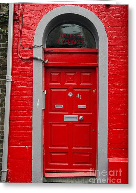 Peepholes Greeting Cards - Colorful red door on red wall Greeting Card by RicardMN Photography