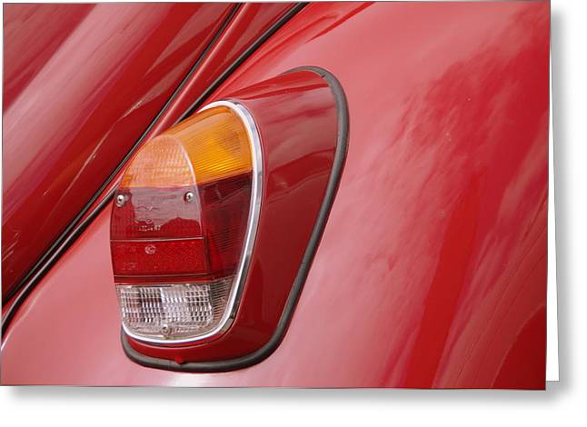 Colour Greeting Cards - Colorful Red VW Beetle Car Abstract Greeting Card by Patrick Dinneen