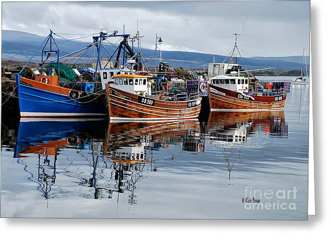 Boats In Water Greeting Cards - Colorful Reflections Greeting Card by Lois Bryan