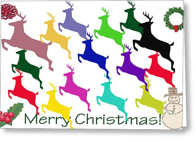 Rudolph Greeting Cards - Colorful Reindeers Greeting Card by Tina M Wenger