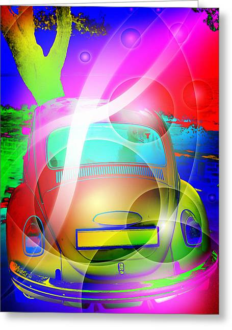 Celebrating Woodstock Greeting Cards - Colorful retro abstract Greeting Card by Modern Art Prints