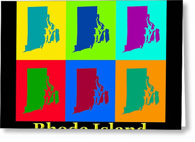 Rhode Island State Map Greeting Cards - Colorful Rhode Island Pop Art Map Greeting Card by Keith Webber Jr