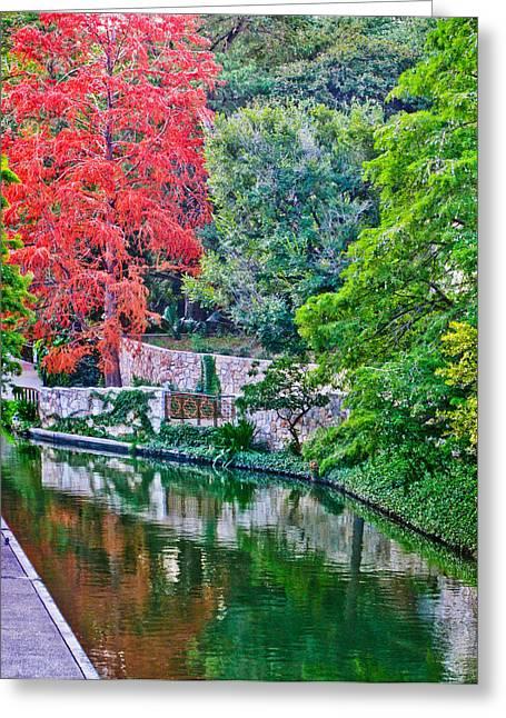 River Walk Greeting Cards - Colorful Riverwalk Greeting Card by David and Carol Kelly