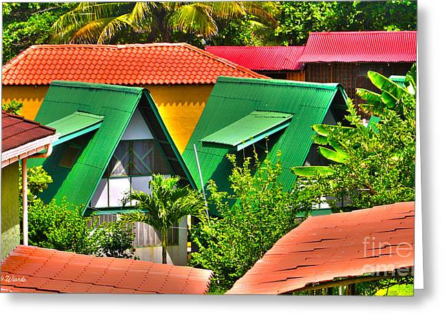Banana Tree Greeting Cards - Colorful Rooftops in Costa Rica Greeting Card by Michelle Wiarda