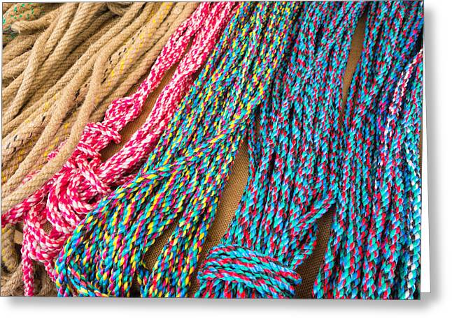 Tightrope Greeting Cards - Colorful ropes Greeting Card by Matthias Hauser