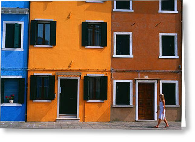 Venetian Door Greeting Cards - Colorful Row Houses, Burano, Venice Greeting Card by Panoramic Images