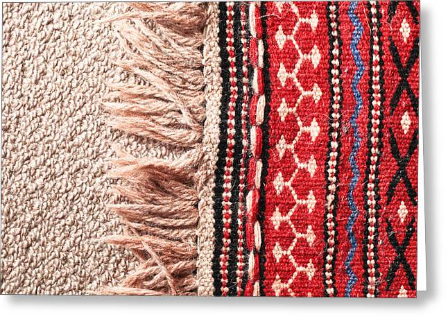 Rosette Greeting Cards - Colorful rug Greeting Card by Tom Gowanlock
