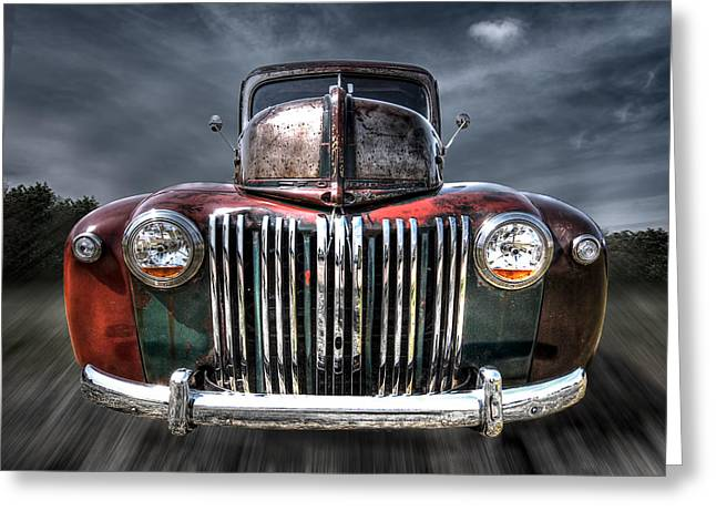 Slammer Greeting Cards - Colorful Rusty Ford Head On Greeting Card by Gill Billington