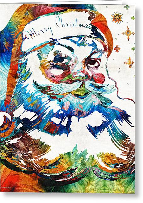 Colorful Santa Art By Sharon Cummings Greeting Card by Sharon Cummings