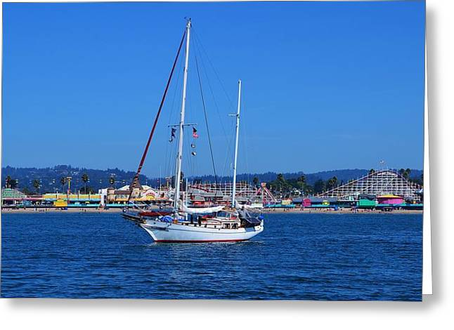 Santa Cruz Sailboat Greeting Cards - Colorful Santa Cruz Fun Greeting Card by Marilyn MacCrakin